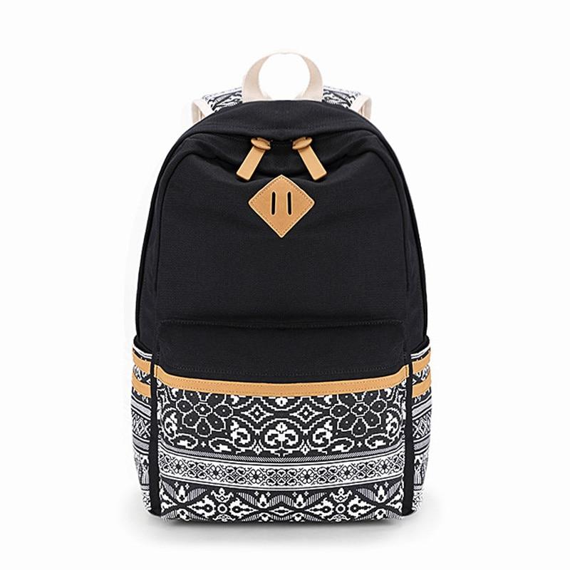 EcopartyWomen School Bags for Teenage Girls Cute Rucksack Laptop Backpacks Female Canvas Printing Large Capacity Backpack
