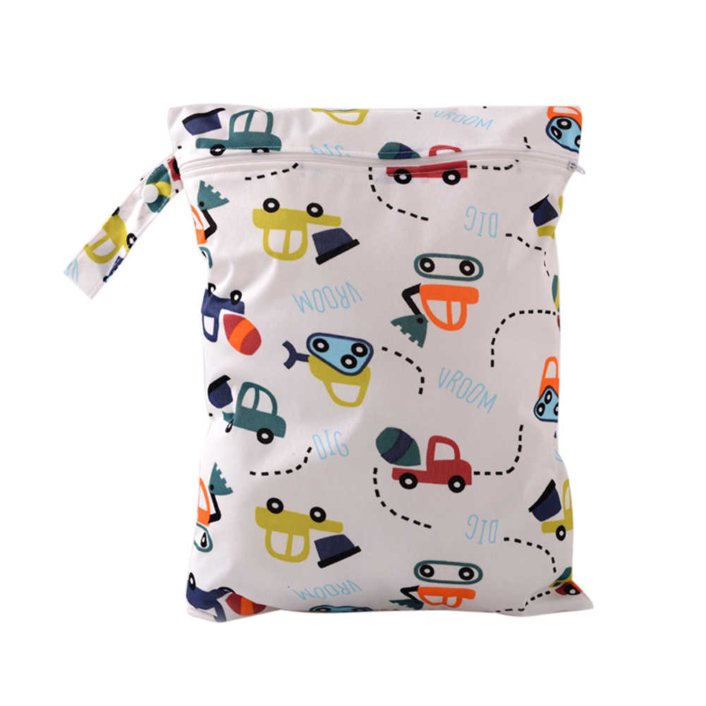Waterproof Baby Diaper Bags Reusable Infant Nappy Changing Dry Wet Bag Washable Baby Travel Cloth Zipper Diapers Storage Bags