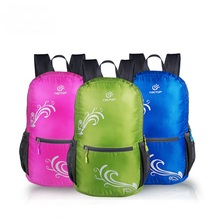 Outdoor Sport 16L Double-shoulder Skin Back Bags Men Women Lightweight Thin Foldable Hiking Climbing Backpacks, Free Shipping!