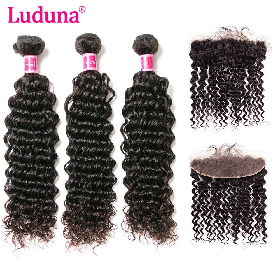 Luduna волос бразильский глубокая волна Человеческие волосы 3 Связки с Синтетическое закрытие волос бразильские волосы Синтетический Frontal шну...
