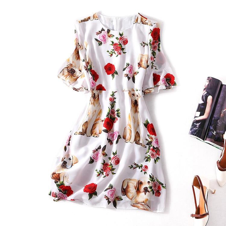 Vestido de verano de línea A de corte ligero nuevo patrón de productos competitivos traje vestidos de seda Real vestido de cintura corta-in Vestidos from Ropa de mujer    1