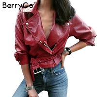 BerryGo Belt Basic Jacket Fashion Red Three Quarter Sleeve PU Leather Jacket Coat Female Casual Outerwear