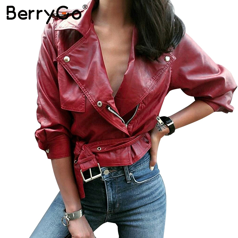 BerryGo Belt   basic     jacket   Fashion red three quarter sleeve PU leather   jacket   coat female Casual outerwear faux leather coat