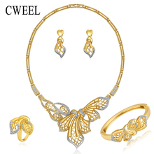 Cweel plateó sistemas de la joyería para las mujeres novia de la boda accesorios parte astilla plateó el anillo collar pulsera pendientes