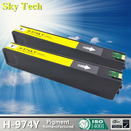 2pcs Yellow Pigment Cartridge For HP974A , 974AY For HP PageWide 352dw 377dw 452dw 477dw 552dw 577dw P55250dw P57750dw etc