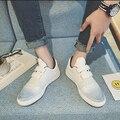Del Color Del Gradiente de los hombres Encienden Los Zapatos Ocasionales Respirables Zapatos Hook & Loop Moda Sapatos Casuais Sapatos masculinos