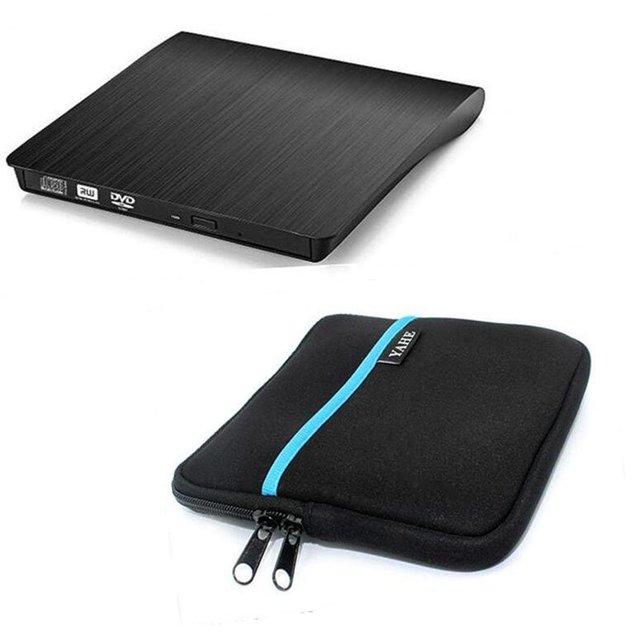 USB3.0 Blu-ray Player Bluray BD-ROM DVD RW Burner Escritor Unidade Óptica Externa para Macbook Computador Portátil + Unidade caso bolsa saco