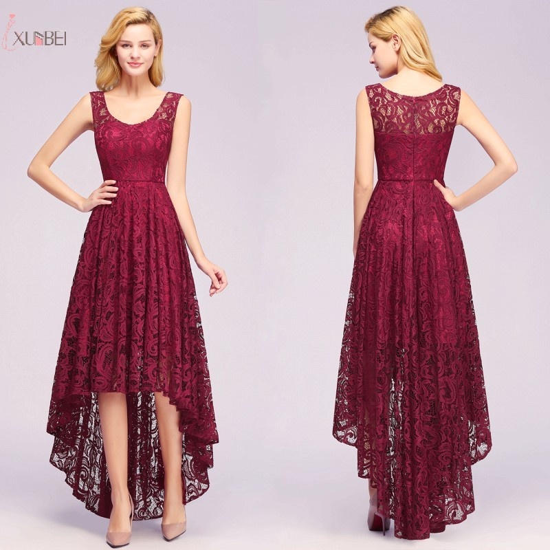2019 Burgundy Lace Short   Prom     Dresses   High Low Sleeveless   Prom   Gown Vestido de festa