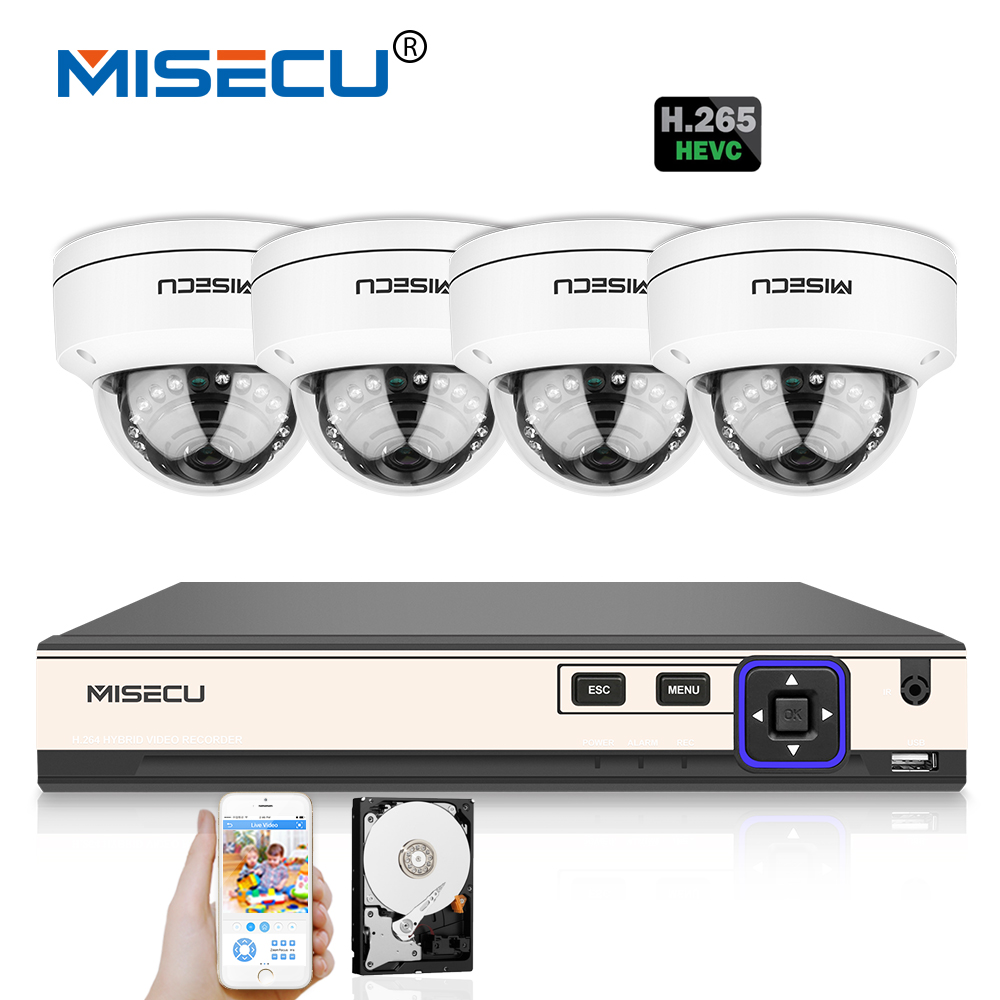 MISECU H.265/H.264 IEE802.3af 4K HDMI POE NVR 4.0MP Hi3516D OV4689 Vandalproof 2560*1440 Metal Camera P2P Motion Night Security misecu 48v poe h 265 h 264 full hd 2 0mp 3 0mp 4 0mp ip camera hi3516d ov4689 outdoor wide dynamic motion onvif p2p night vision