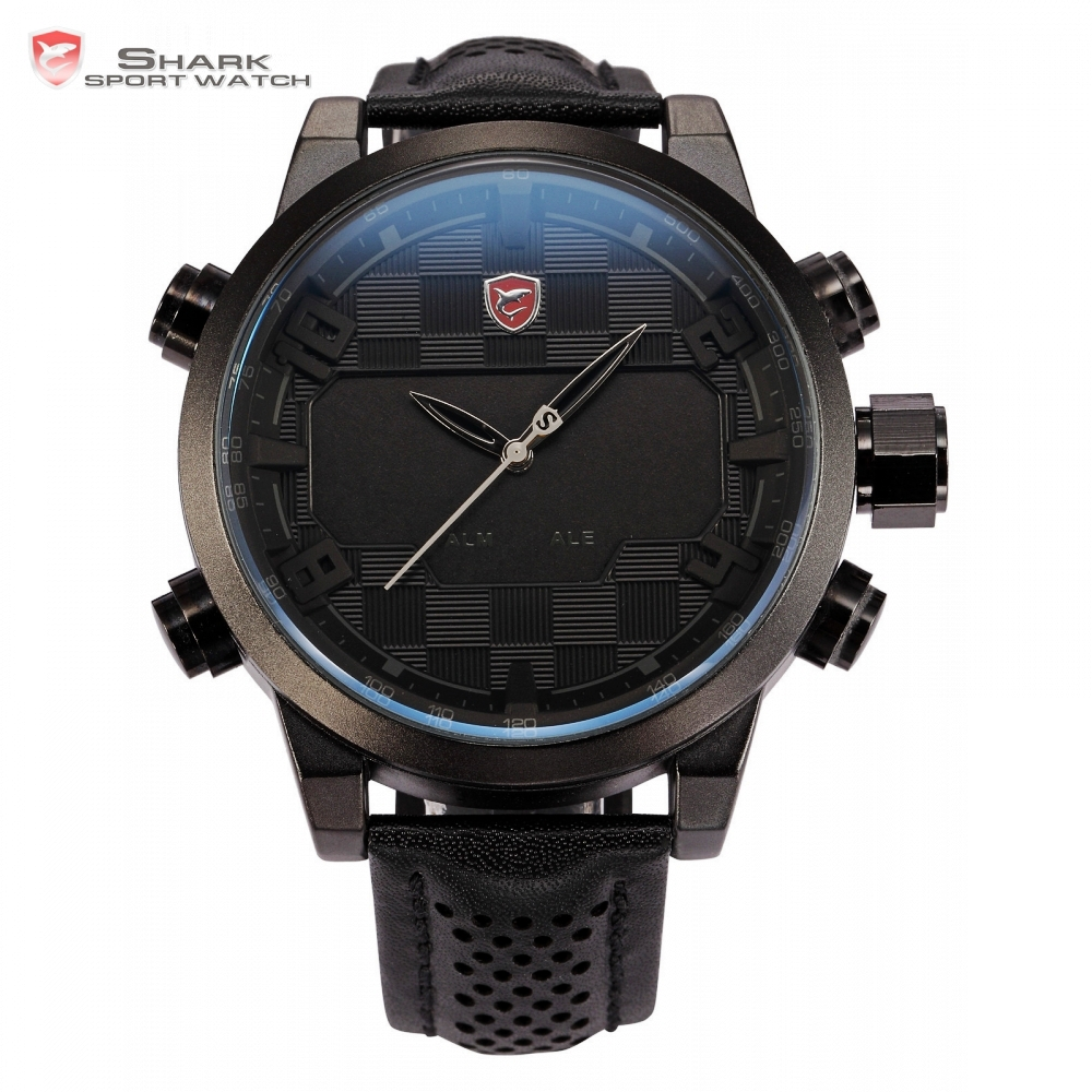 Sawback Angel SHARK Sport Watch Analog Digital Dual Movement Full Black Date Alarm Male Leather Strap