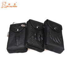 New Men Genuine Leather Real Crocodile Grain Cell/Mobile Phone Cover Case Pocket Hip Belt Bum Fanny Pack Waist Bag Father Gift