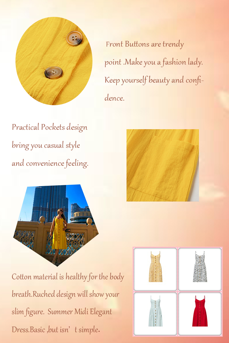 Elegant button women dress Pocket polka dots yellow cotton midi dress Summer casual female plus size lady beach vestidos 14