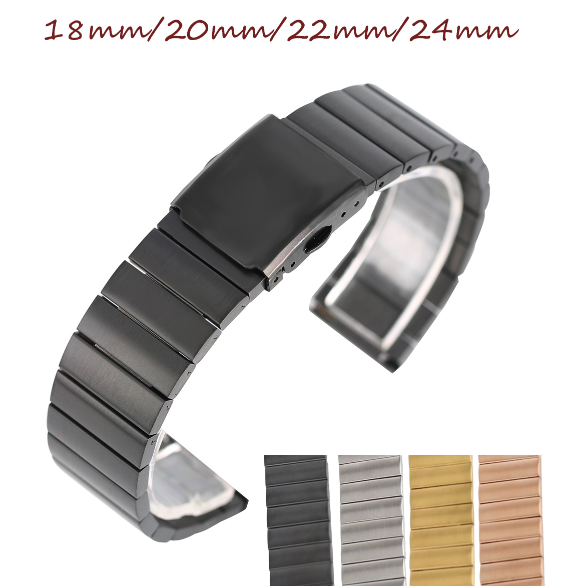 18/20/22/24mm Mens Watch Stainless Steel Band Strap Bracelet Clasp  +2 Spring Bars Solid Link Replacement Black Silver watchband 18 20 22mm genuine leather outdoor replacement black watch strap men band soft stainless steel butterfly buckle 2 spring bars