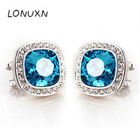 High quality sterling silver square big earrings Wedding Party Blue Crystal Pendant Earrings Women's Jewelry Female Ear Jewelry