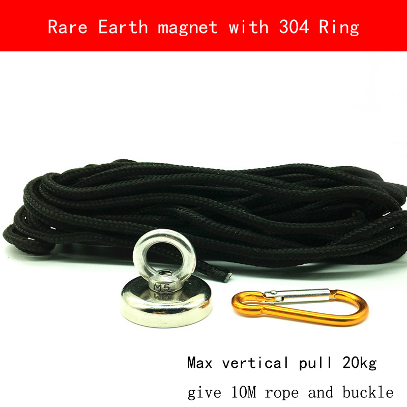 D32 max pull 40KG N38 Neodymium strong rare earth Magnet 304 stainless steel ring and 10M rope and buckle vik max adult kids dark blue leather figure skate shoes with aluminium alloy frame and stainless steel ice blade