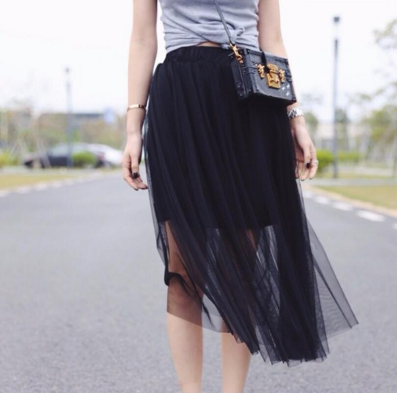 6f614526c2 Summer Style Sheer Tulle Skirts Cheap A Line Tea Length Sexy Women See  Through Skirts custom fashion style-in Skirts from Women's Clothing on  Aliexpress.com ...