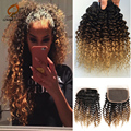 Kinky Curly Hair With Closure Ombre Brazilian Hair With Closure 3bundles With Closure Gaga Hair tissage bresilienne avec closure