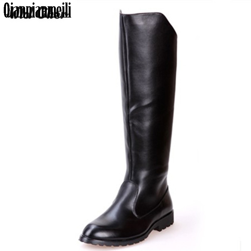 Charming Solid High Boots Mens Black Military Boots Natural Cow Leather Men Long Waterproof Snowboots Equestrian