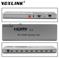 VOXLINK 3D 4K 2160P 1X8 HDMI 2.0 Splitter 1 In 8 Out HDMI Switcher Splitter Support IR Extension EDID Mangement RS232 HDCP2.2