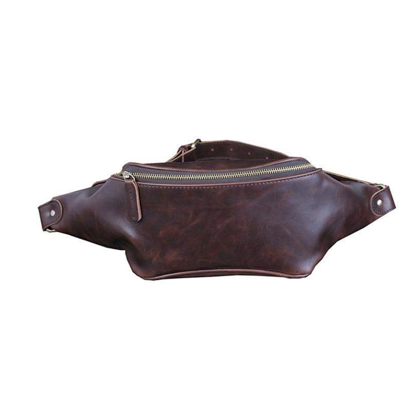 2018 Luxus Mode Crazy Horse Pu Faux Leder Taille Tasche Für Männer Fanny Pack Designer Gürtel Brust Taschen Geld Handy Halter HüBsch Und Bunt