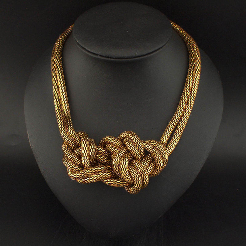Vintage Style Women Necklace Fashion Accessories Metal Chain Tie Knot Big Chokers Necklaces
