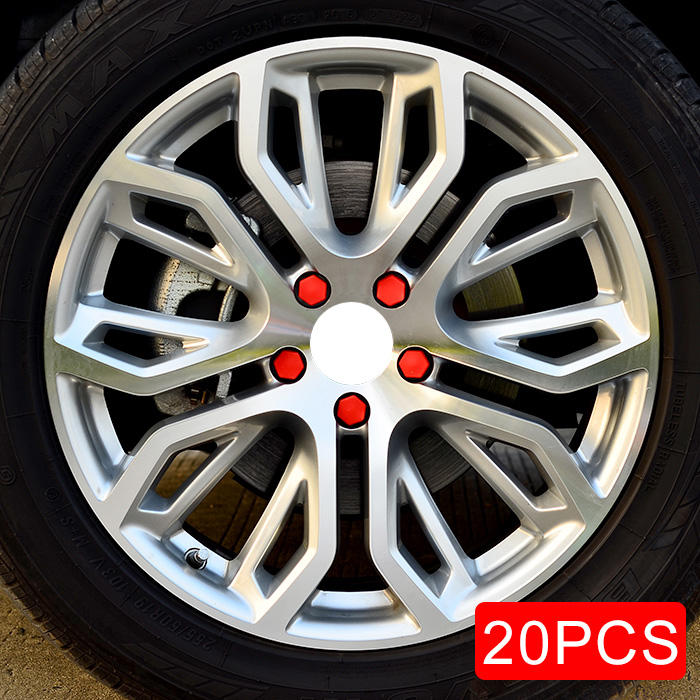 19mm Car Truck Wheel Tyre Center Hub Screw Nuts Lug Bolt Red Rubber Caps 20pcs/Combo Accessories Decoration Parts