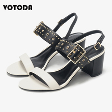 WOTODA 2019 Summer New Luxury High Heels Ladies Shoes Open Toe Suede Sexy Buckle Sandals Women Fashion Rivet Rome Shoes Designer