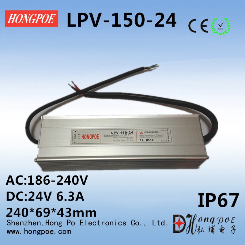ФОТО 24V the waterproofing power supply 150W 24V 6.3A outdoor Single Output Switching power supply for LED Strip light IP67