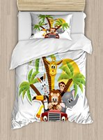 Baby Duvet Cover Set Zebra Toucan Lion and Elephant African Forest Animals Driving Safari Theme Fantastic, 4 Piece Bedding Set