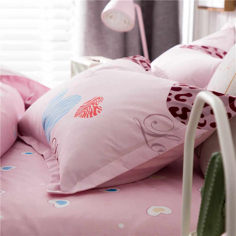 Slowdream Love Heart Duvet Cover Set Pink Bedding Set Double Queen King Bed Linen Set Euro Bedclothes Decor Home Textiles Set