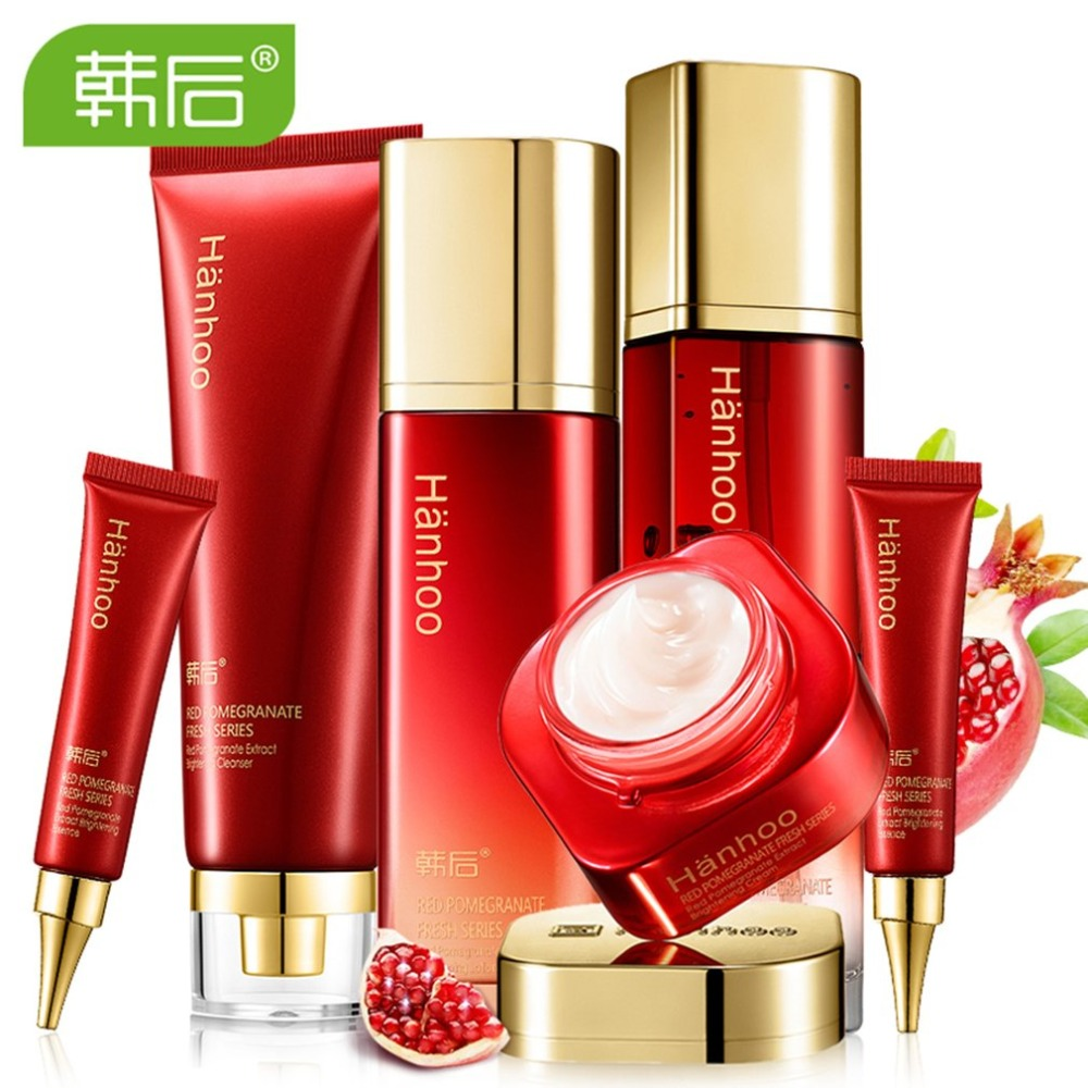 цена на 6pcs/set Face Care Moisturizing Fresh Red Pomegranate Facial Nourishing Whitening Antioxidant Cream Essence Lotion Set 2018