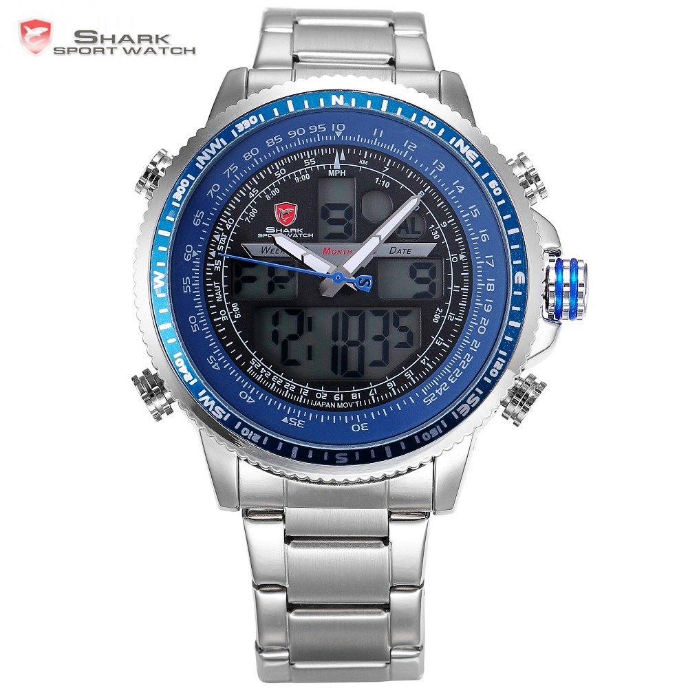 Winghead SHARK Sport Watch Blue Fashion Casual Quartz Wristwatches LCD Digital Dual Time Chronograph Waterproof Relogio /SH326N