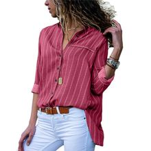 Womens Long Sleeves Lapel Collar Loose Blouse Office Ladies Vintage Vertical Stripes Shirt V-Neck Button Down Asymmetric Curved все цены