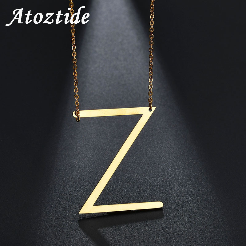 Letter Z Necklace ALP Atoztide Customize Stainless Steel Capital Letter Z Necklace Women  Personalize English Alphabet Initial Necklace & Pendant -in Pendant  Necklaces from ...