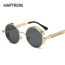 4c1b912dd855f HAPTRON rodada Moda Steampunk Gótico Dos Homens Dos vidros do vintage óculos  de Sol Espelho Círculo liga óculos de Sol rosa mold.