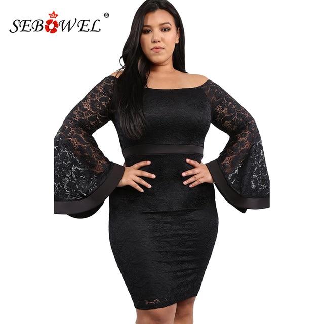 4ba9ddbbde27f SEBOWEL Big Plus Off Shoulder Lace Bodycon Dress Women Slash Neck Plus Size Long  Sleeve Party