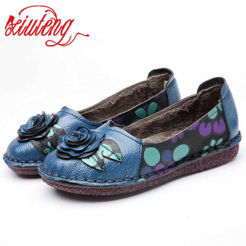 Xiuteng Warm Genuine Leather Shoes Winter Women Ballet Flats Loafers Winter Ladies Slip On Flat Shoes Blue Black Zapatos Mujer цена