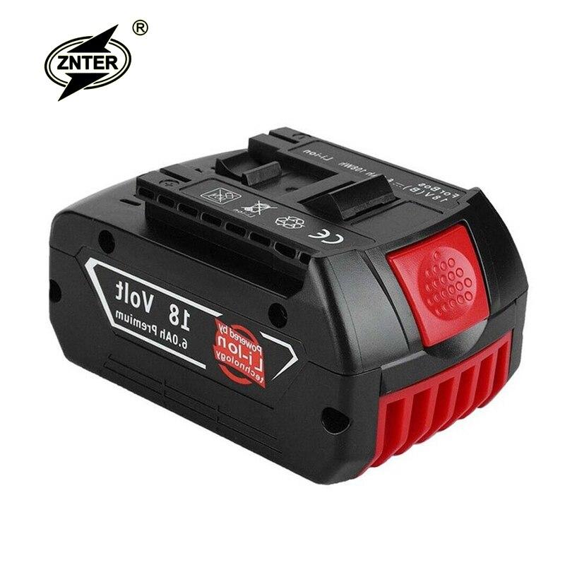 Znter 18 V 6000 mAh batterie d'outils électriques pour Batteries rechargeables au Lithium Bosch sans fil pour perceuse Bosch BAT609 BAT618 JSH180
