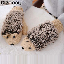 Women  Winter New Gloves Without Fingers Knitting Wool Cute