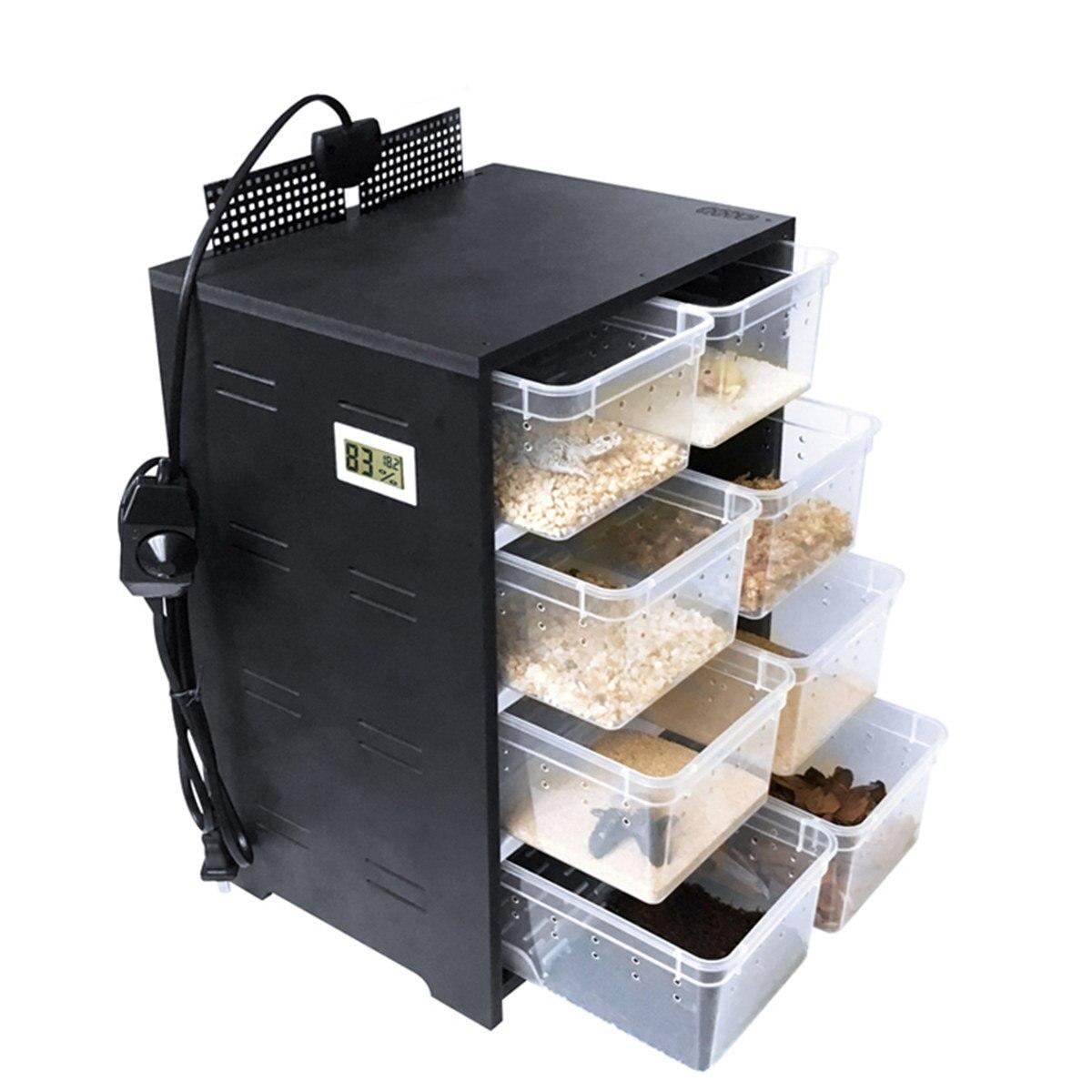 Pet Répteis Terrário Caixa de Alimentação Acrílico 4 Camadas Tanque de Criação de Insetos Lagartos Casa Aquecimento Pad Gaiola Gaveta com Higrômetro