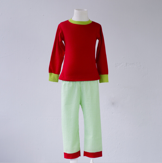 Girls Green pant and Red top mother daughter outfits baby cotton interlock knit fabric woman ugly Christmas sweater pajamas