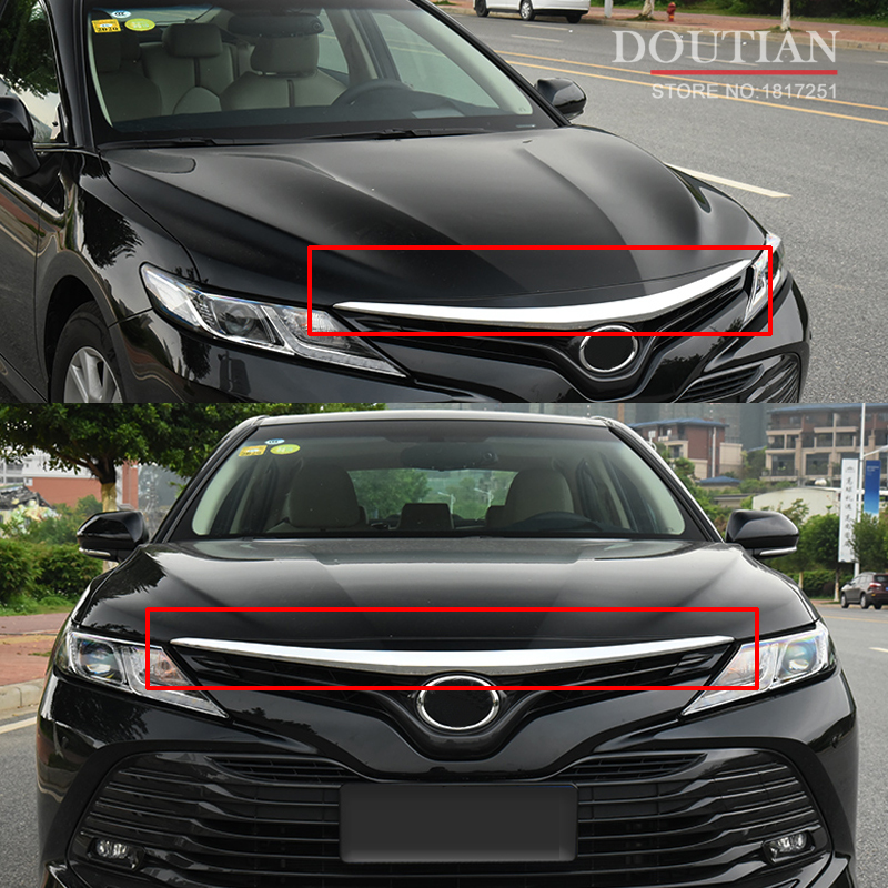 FOR Toyota Camry 2018 Car Front Grille Trim Cover ABS Chrome Car Accessories Styling car styling 1pcs stainless steel chrome front grille front and rear decorative fine barbecue season 2012 2013 for toyota camry