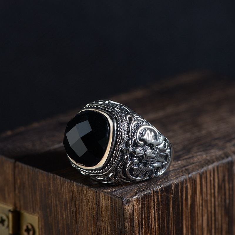 цена на FNJ 925 Silver Black Stone Ring New Fashion S925 Sterling Thai Silver Rings for Men Jewelry USA Size 8-12