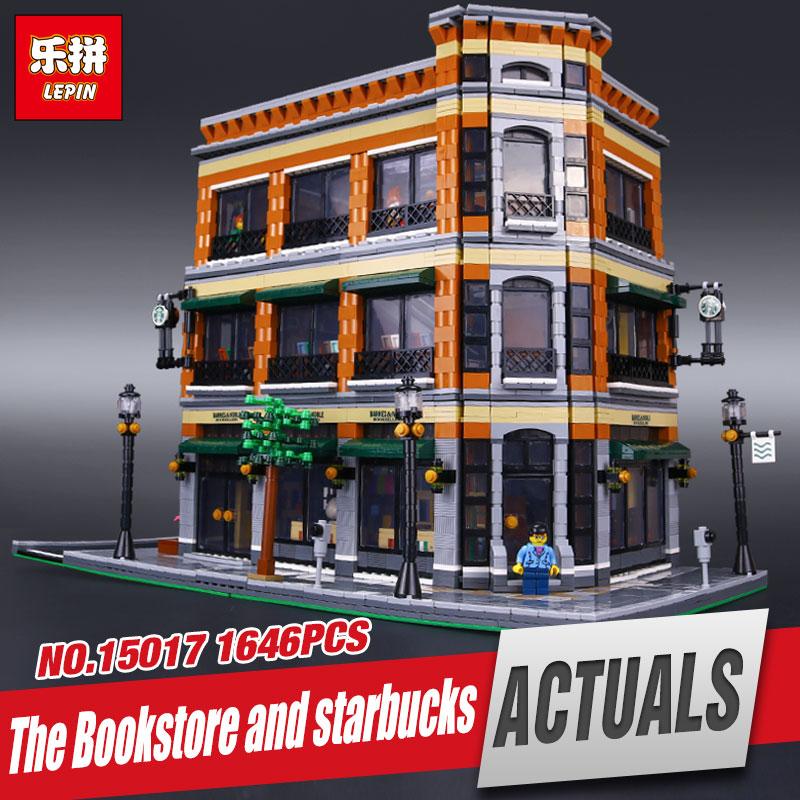 LEPIN 15017 4616Pcs City Street Starbucks Bookstore Cafe Model Educational Building Kit  Blocks Bricks Compatible Toy