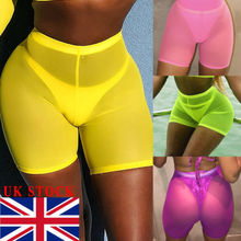 Women See Through Fishnet Shorts Leggings Mesh Pants Cycling Bikini Cover Up ripped fishnet panel leggings