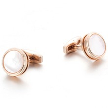 Drop Shipping VAGULA High Quality Plated Rose Gold Cufflinks Wedding Groom Cuff links Natural Mother Pearl Cuffs 51926