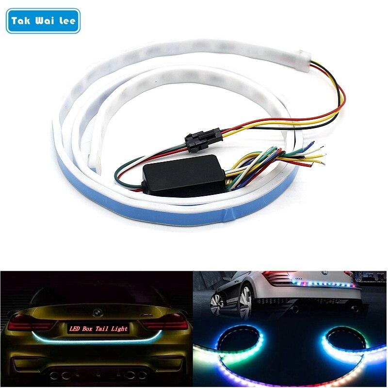 Tak Wai Lee RGB LED Car Rear Box Tail Light 120CM 5 Function In 1 Steering Turn Signal Backup Brake Stop Warning Strip Styling