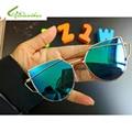 New crianças cat eye óculos de sol meninos meninas marca designer espelho cateye óculos de sol retro crianças óculos de sol uv400 oculos de sol
