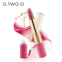 O.TWO.O 12 colors Matte liquid Lipstick Makeup Velvet Lipstick and Matte Lip gloss 2 in 1 batom liquido mate