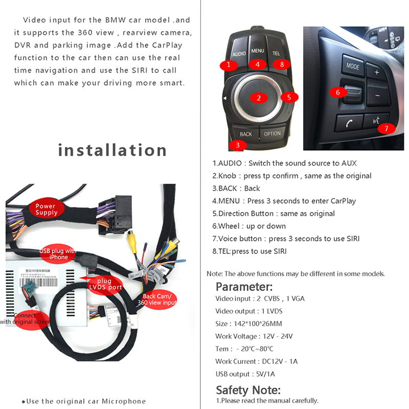 US $396 99 |Sinairyu Aftermarket MINI Cooper OEM Apple CarPlay Box Retrofit  Upgrade for 2012 2015 NBT System for BMW-in Car Multimedia Player from